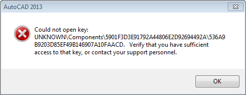 Could not open key:...