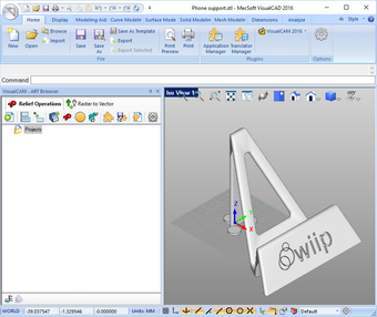 L'interface de VisualCAD