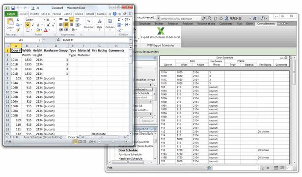 Un clic et voilà, vous retrouvez la copie conforme de vos nomenclatures Revit dans Excel