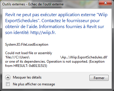 Exception System.IO.FileLoadException au démarrage de Revit