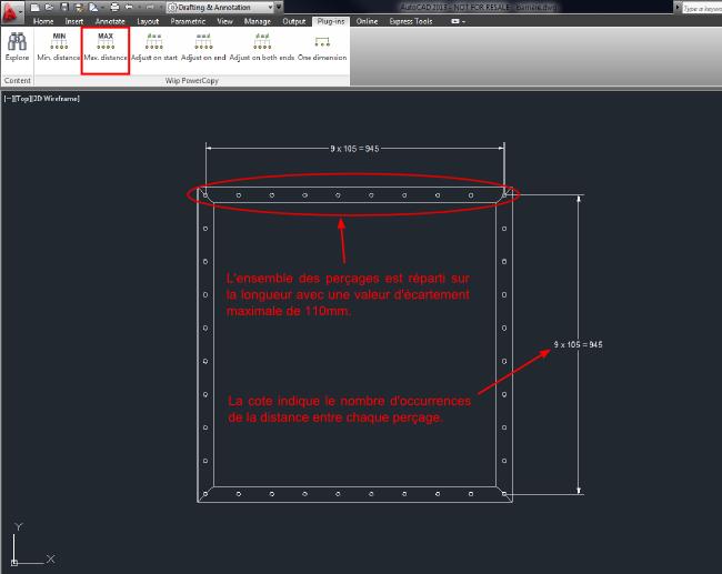 Exemple d'utilisation de la commande WIIPPOWCPMAX avec une bride rectangulaire