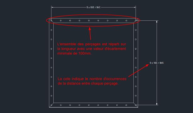 Exemple d'utilisation de la commande WIIPPOWCPMIN avec une bride rectangulaire