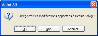 Les boutons des boites de confirmation d'AutoCAD