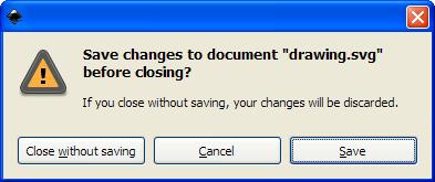 Les boutons des boites de confirmation d'Inkscape