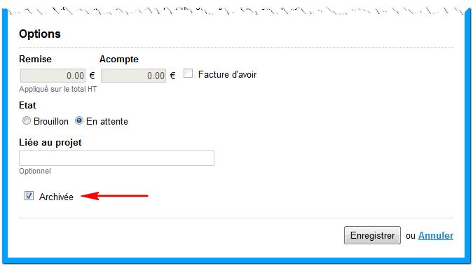 La case à cocher qui permet d'archiver une facture
