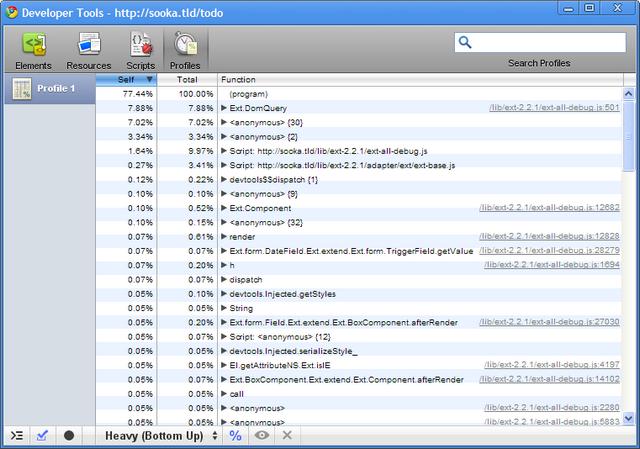 L'onglet Profiles de la console Javascript de Google Chrome