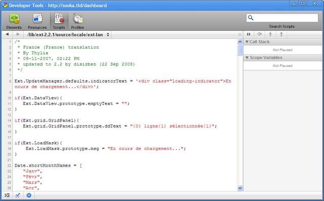 L'onglet Scripts de la console Javascript de Google Chrome