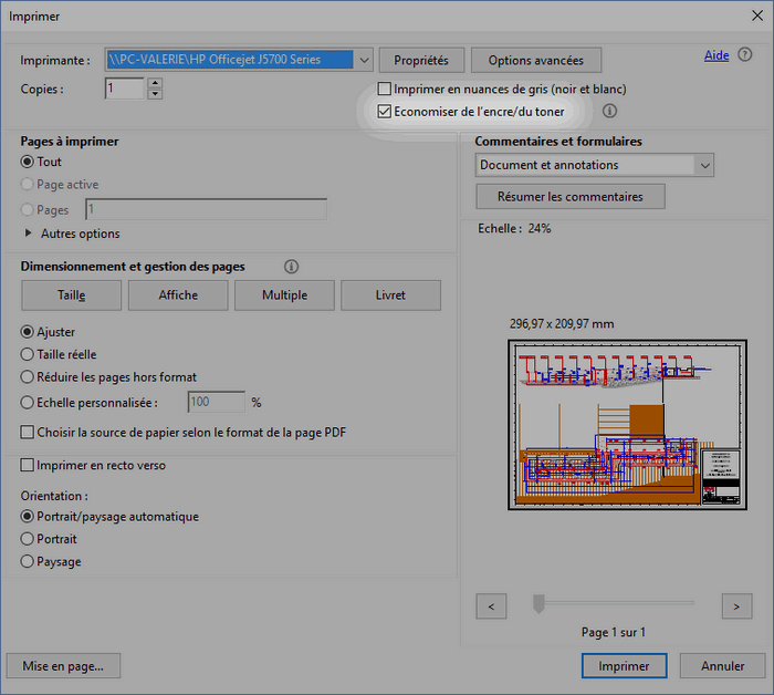 Case à cocher Économiser de l'encre/du toner dans la boite de dialogue Imprimer d'Acrobat Reader