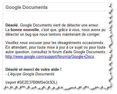 Message d'erreur Google Document