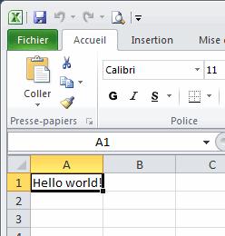 Le texte écrit dans Excel
