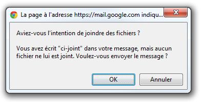 Avertissement affiché par Gmail