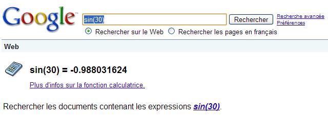 La calculatrice Google