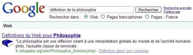 Les définitions Google