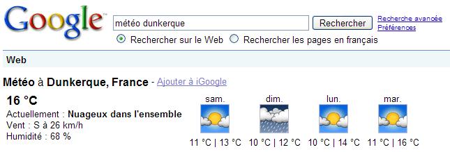 La météo affichée sur Google