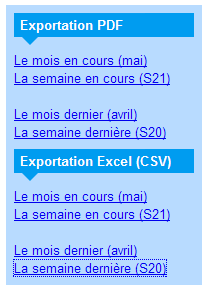 Les options d'exportation des pointages